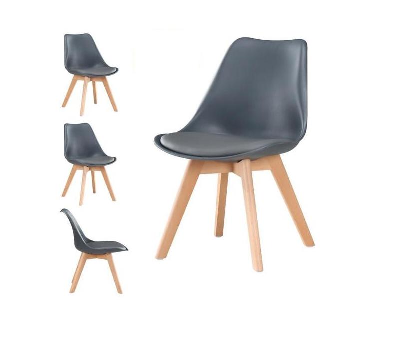 4 x chaises scandinaves robustes rembourres gris fonc - Chaise Scandinave Rembourree