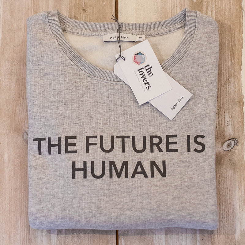THE FUTURE IS HUMAN by The Lovers, Sweater – grau / Druck grau 00005