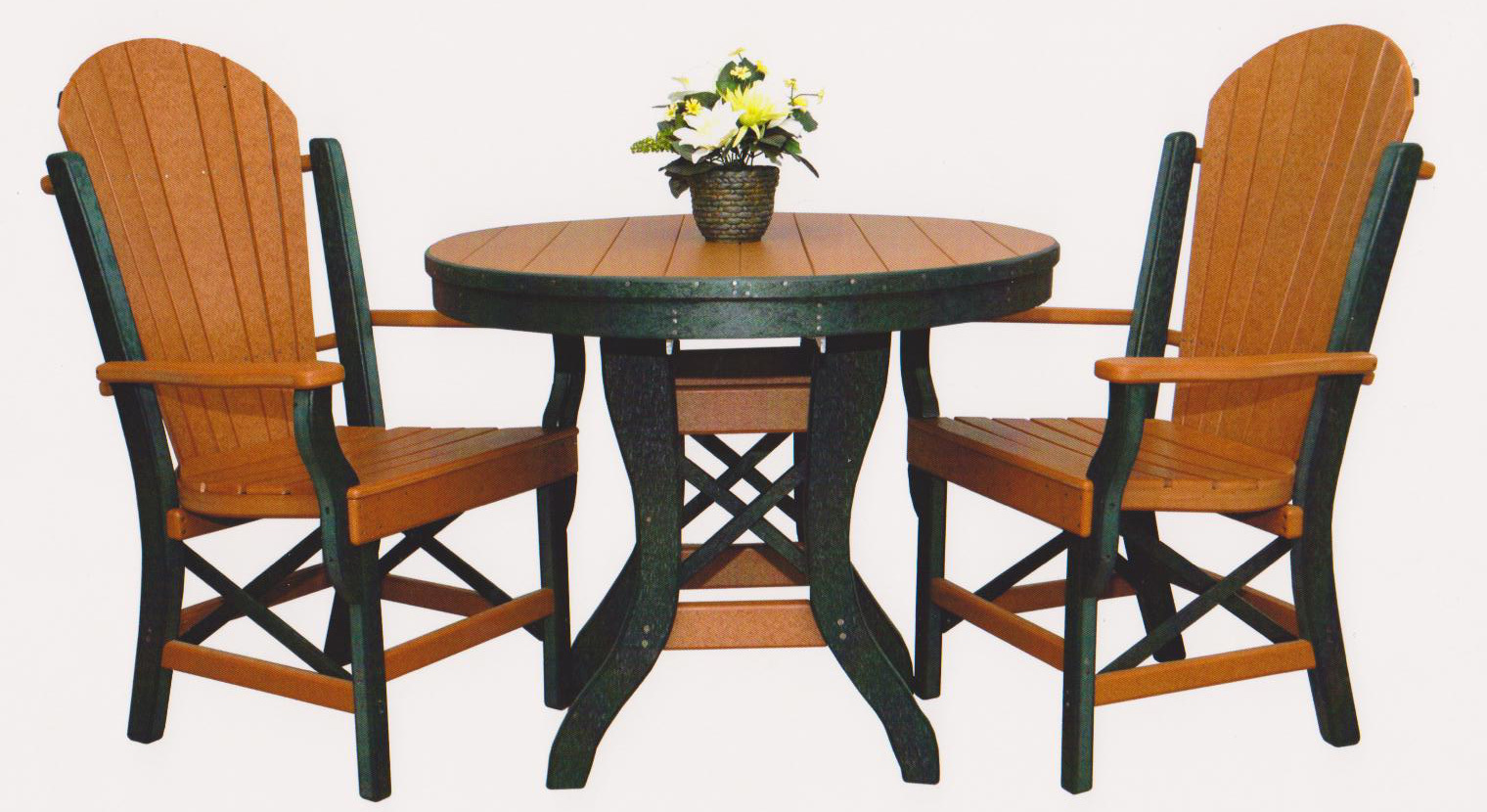 "Byler's Outdoor 36"" Round Table & 2 Fan Back Arm Chairs. 1-200;2-630"