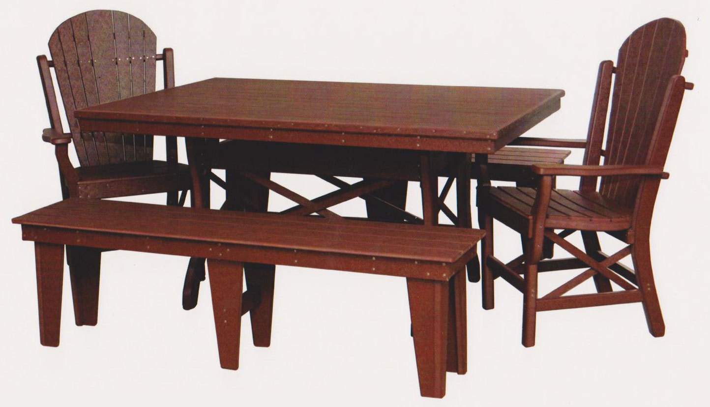 "Byler's Outdoor 44"" * 60"" Rectangle Dining Table, 2 Fan Back Arm Chairs, and 2 60"" Benches. 260; 2-705; 2-630;"
