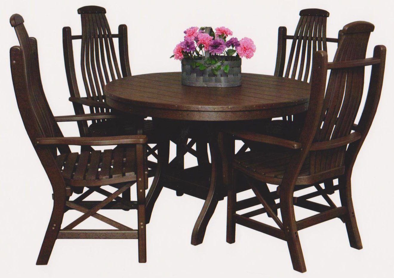 "Polylumber 44"" Round Table & 4 Bentwood Arm Chairs Byler's Outdoor 4-430;1-210;"