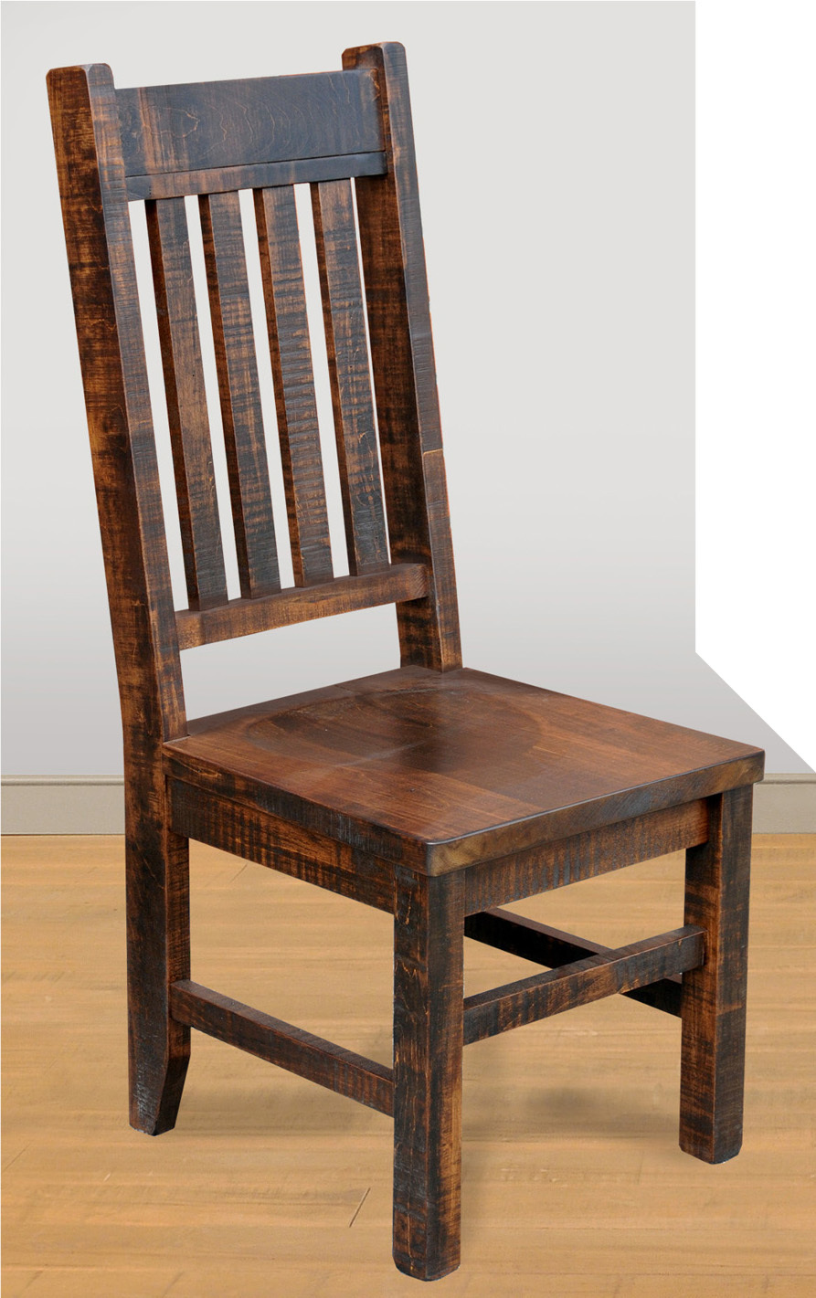 Large Slat Back Benchmark Side Chair by Ruff Sawn SCLS