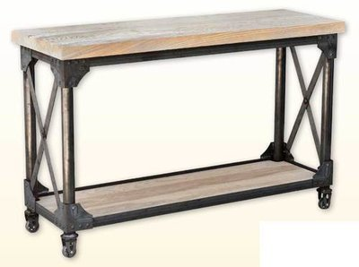 Ruff Sawn Iron Works Sofa Table with shelf