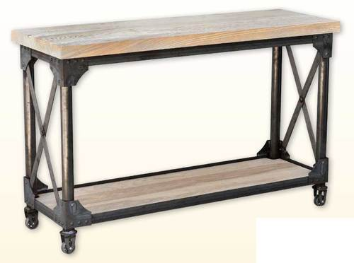 Ruff Sawn Iron Works Sofa Table with shelf iwso3048