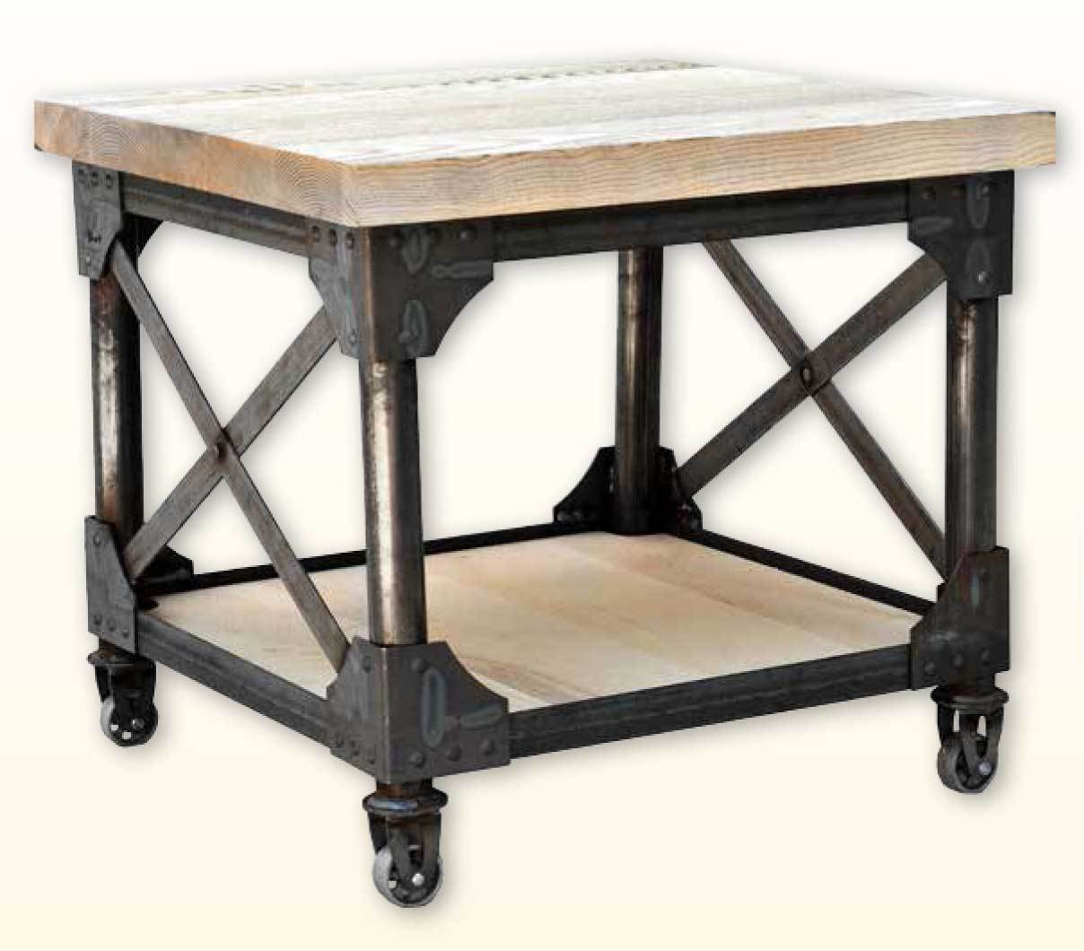 Ruff Sawn Iron Works End Table with Shelf iwen2324