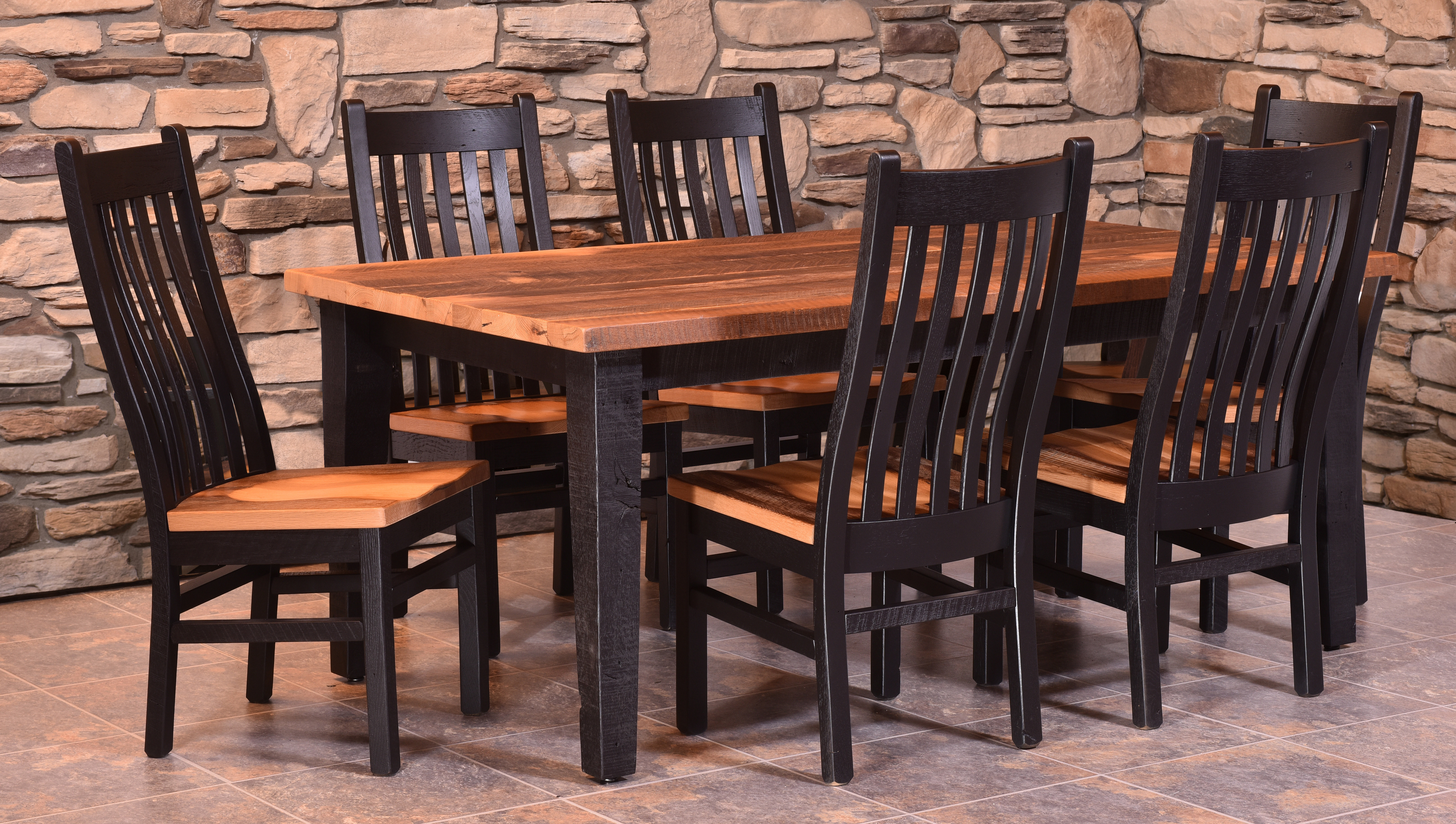 Almanzo Black Tapered Leg Table and Mission Chairs by Urban Barnwood 113-4272; 6 - 231-mac