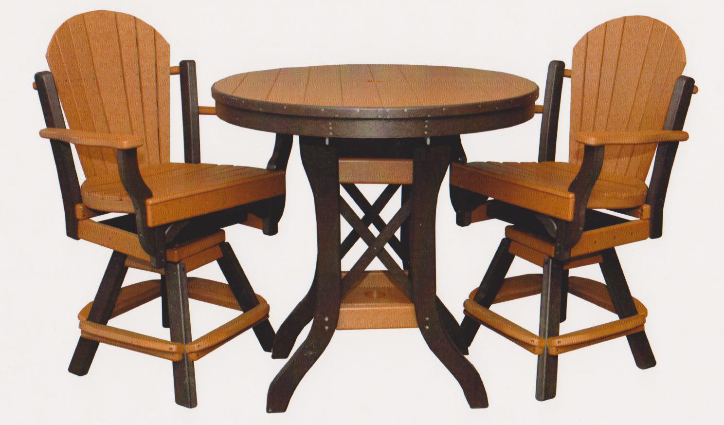 "Byler's Outdoor 36"" Round Balcony Table & 2 Fanback Swivel Pub Arm Chairs."