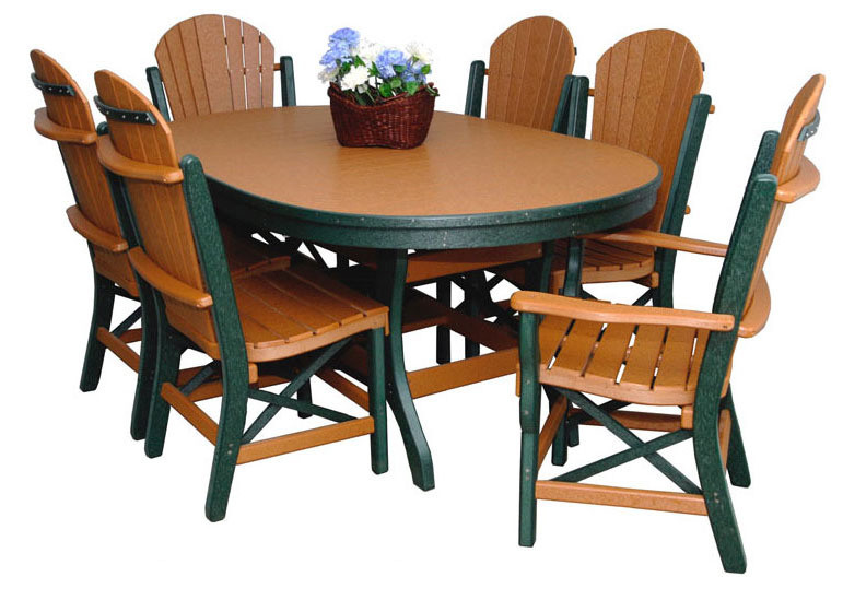 """Byler's Outdoor 44"""" * 72"""" Oval Dining Table, 2 Fan Back Arm Chairs, and 4 Fan Back Side Chairs."""