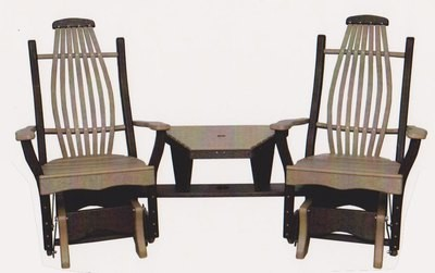 Byler's Outdoor Bentwood Angled Settee with removable insert