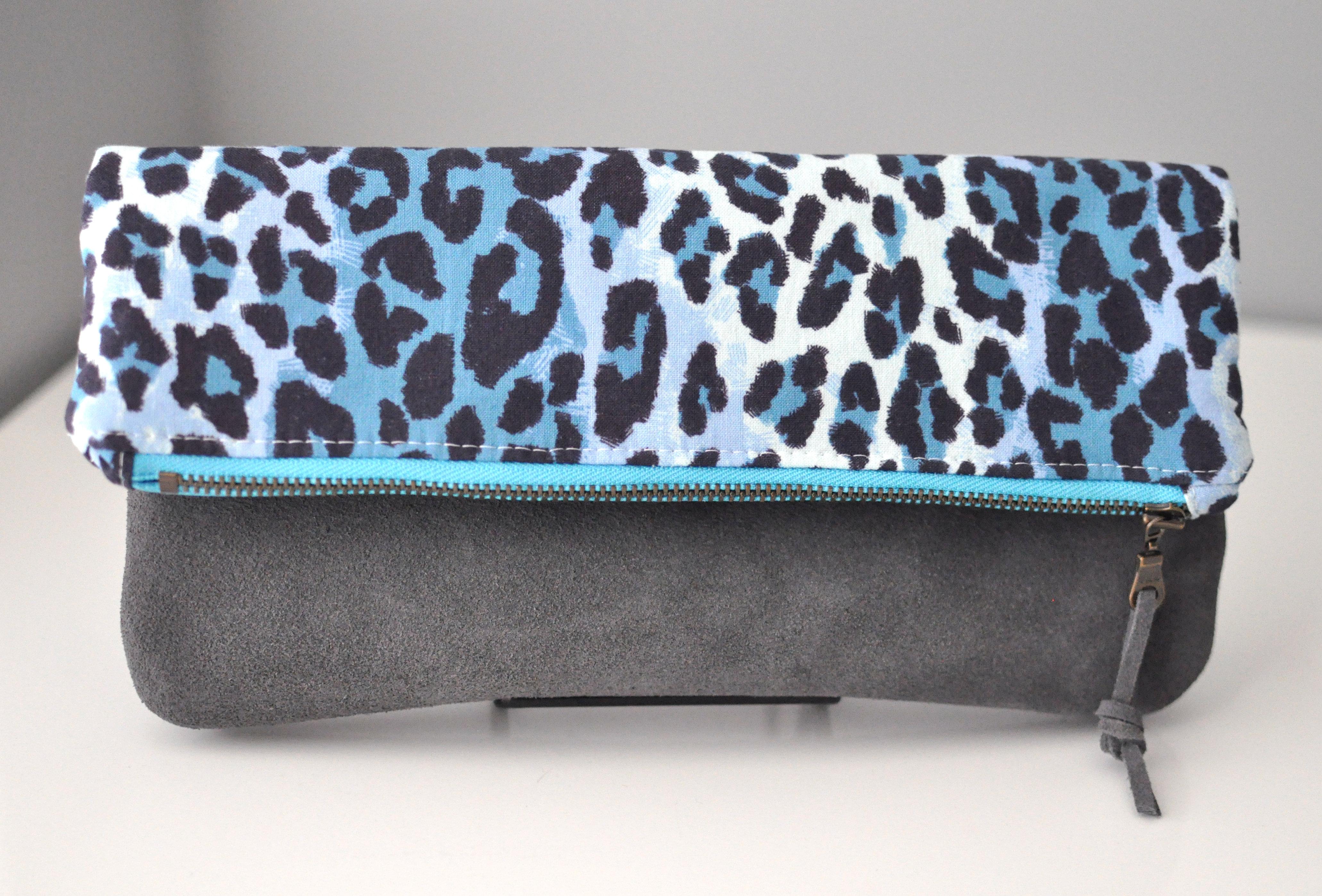 Date Night Clutch | Blue Cheetah 00037
