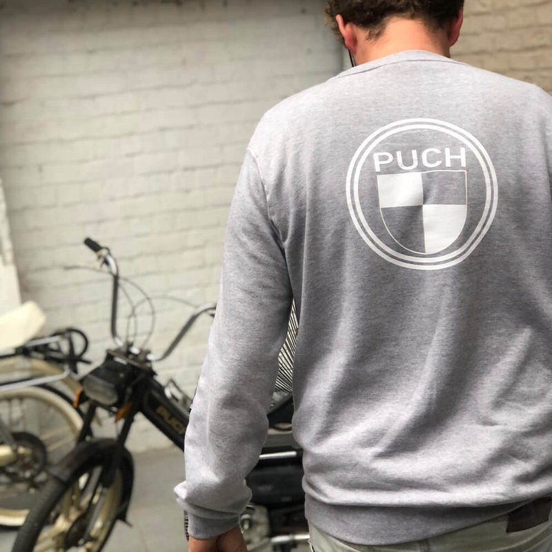 Puch Sweater  | Grey & White | Puch Logo Front  & Back