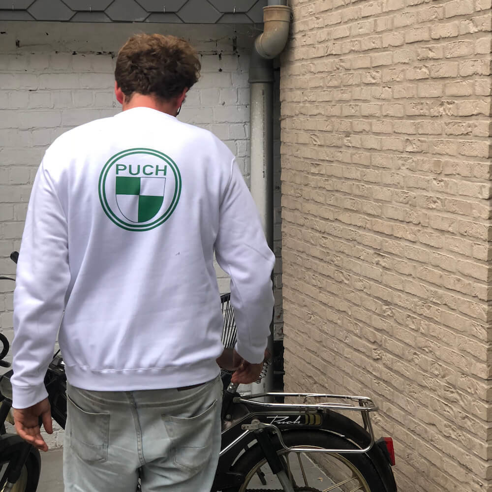 Puch Sweater  | White & Green | Puch Logo Front  & Back