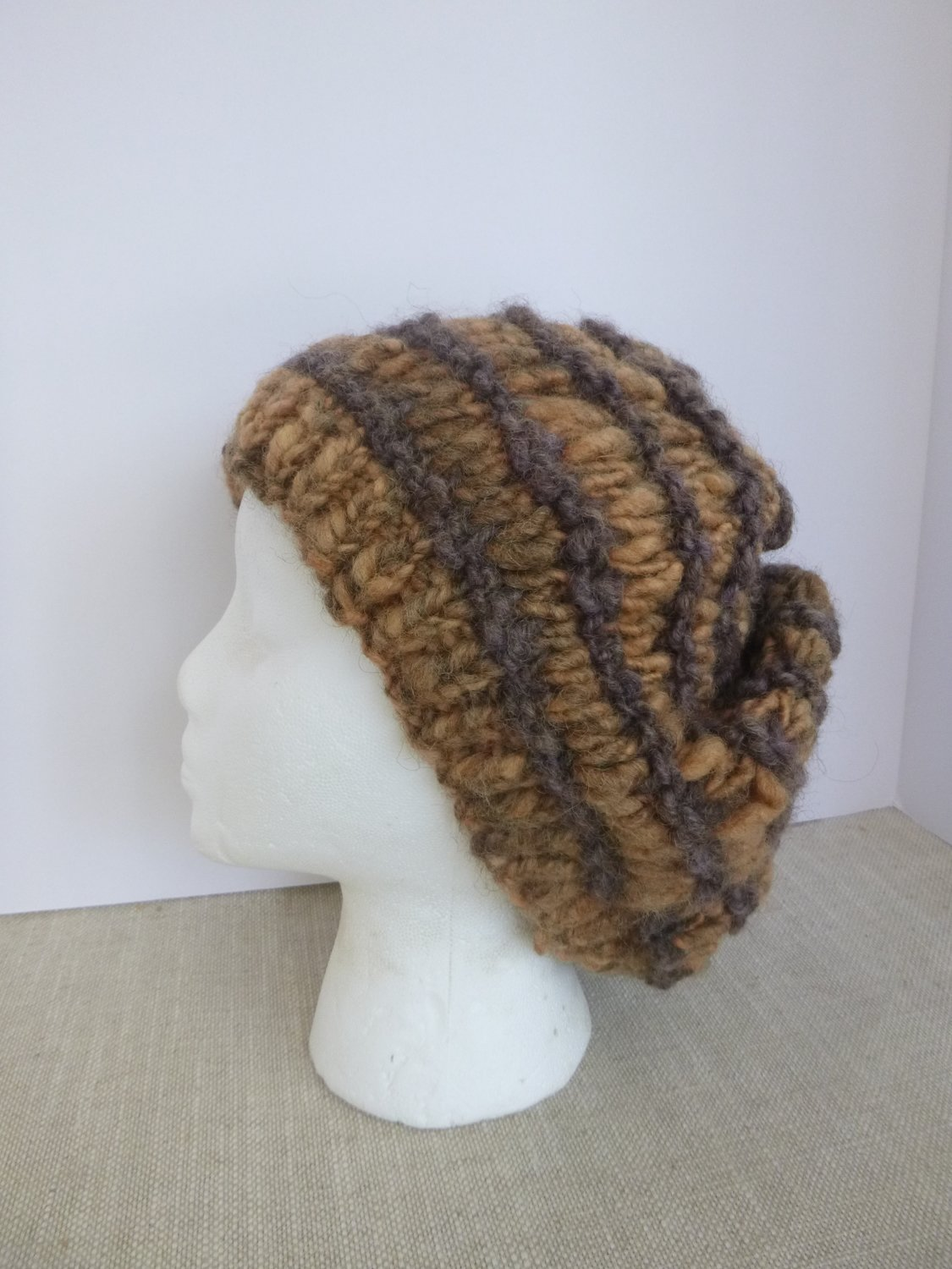 Hat, Handspun & Handknit Slouch, Naturally Dyed