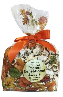 Gourmet Chocolate Drizzled Popcorn 3oz. Fall Bag with Bow