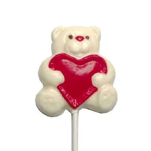 Chocolate Lollipops - Pollylops® - Bear With Heart - Wholesale W-211