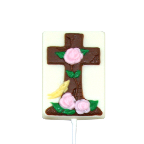 Chocolate Lollipops - Pollylops® - Cross With Roses / Wholesale W-762