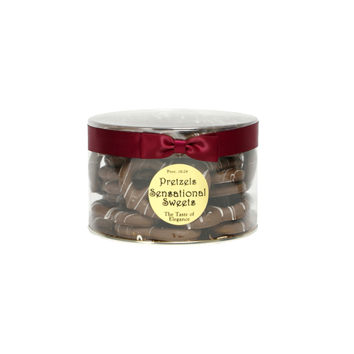 Gourmet Pretzels - Chocolate Dipped - 1 lb. Tub w/Ribbon - Wholesale W-P14