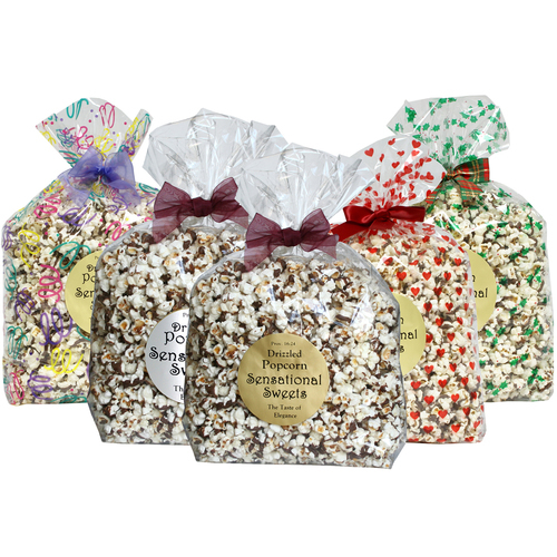 Gourmet Chocolate Drizzled Popcorn - 1 lb. Extra Large Bag w/ Bow - Wholesale W-PC126