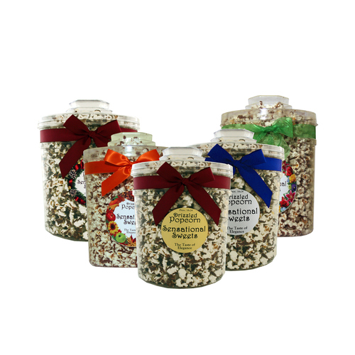Gourmet Chocolate Drizzled Popcorn - 1 lb. Knob Tub w/Ribbon - Wholesale W-PC127