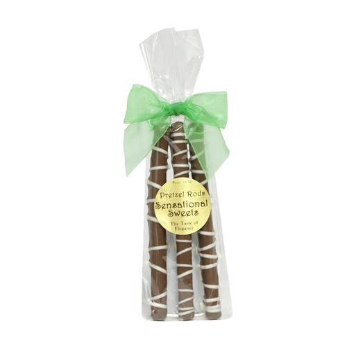 Gourmet Pretzel Rods - Chocolate Dipped - 3 Pretzels in Bag w/Bow - Wholesale W-PR321