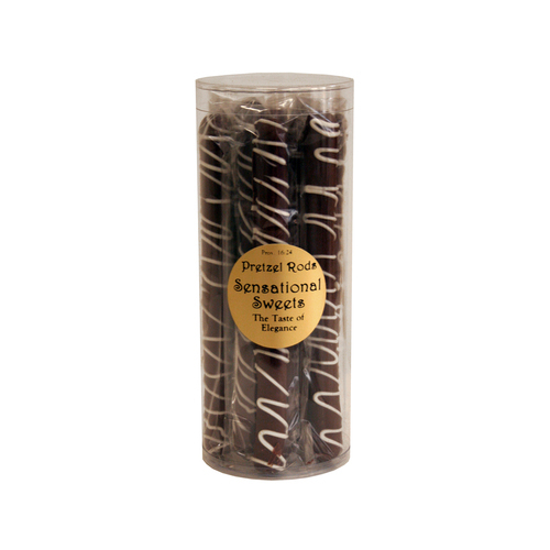 Gourmet Pretzel Rods - Chocolate Dipped - 9 Individually Wrapped Rods in Cylinder - Wholesale) W-PR901