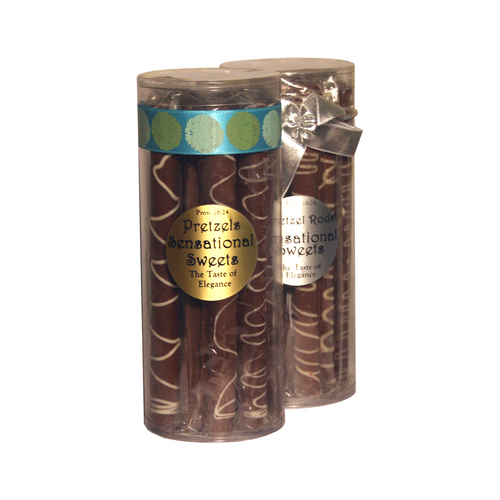 Gourmet Pretzel Rods - Chocolate Dipped - 9 Individually Wrapped With Ribbon in Cylinder - Wholesale) W-PR921