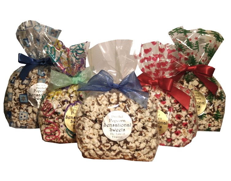 Gourmet Chocolate Drizzled Popcorn (3 oz. Bag With Bow) PC131