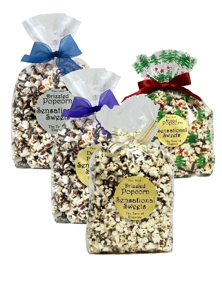 Gourmet Chocolate Drizzled Popcorn (1/2 lb. Bag with Bow) PC122