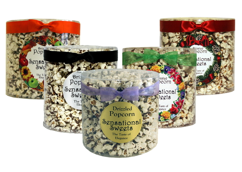 Gourmet Chocolate Drizzled Popcorn (7 oz. Tub With Bow ) PC123