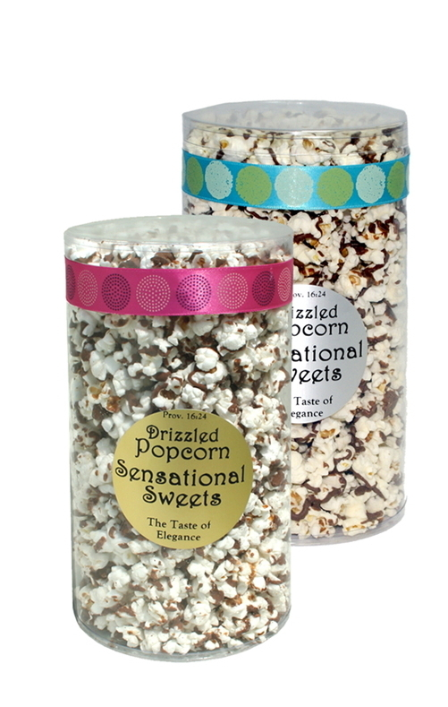 Gourmet Chocolate Drizzled Popcorn (1/2 lb. Tube With Ribbon) PC128