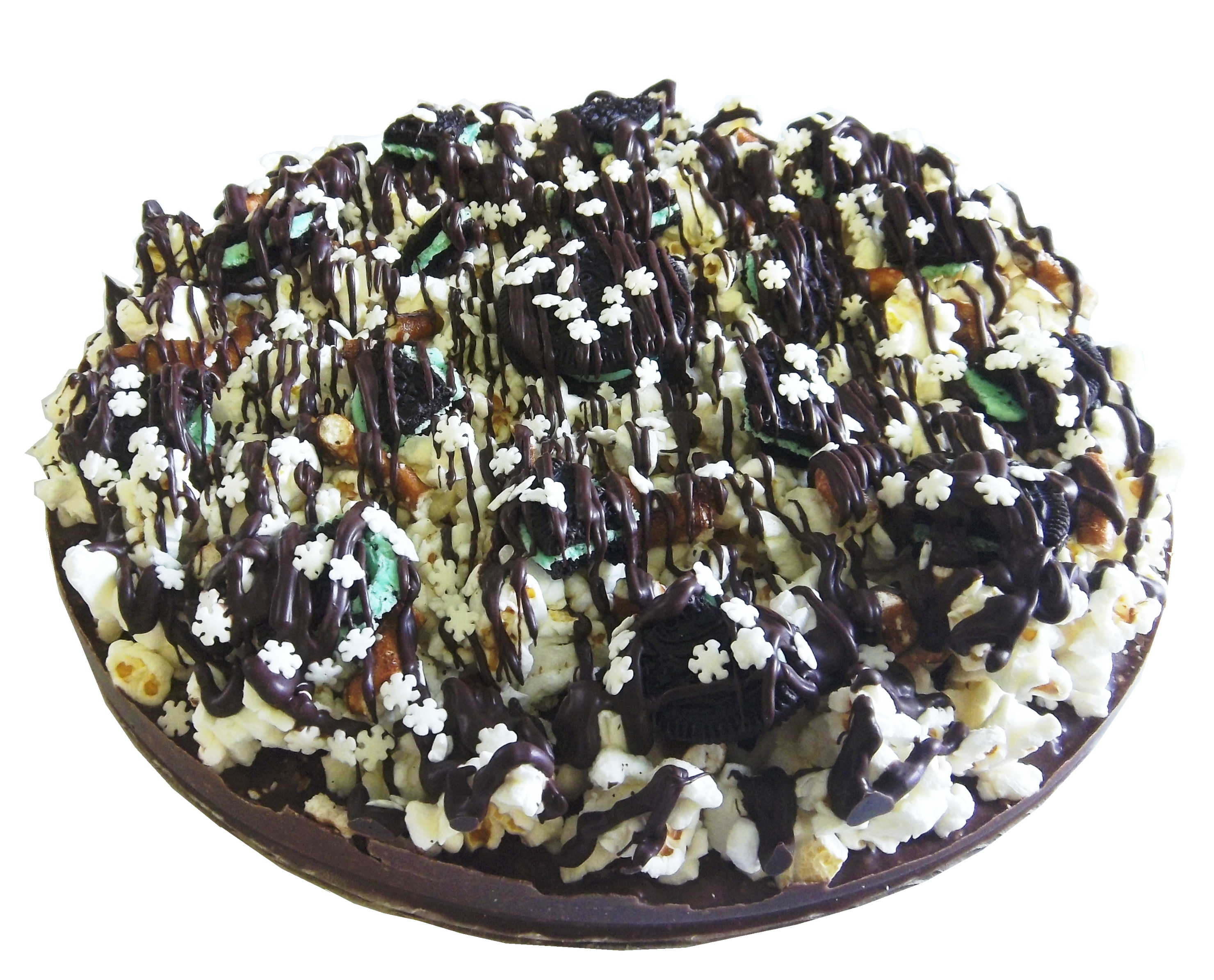 "Gourmet Double Mint Chocolate Pizza with Pizazz™ 10"" w/Snowflake Deco PZSUDD"