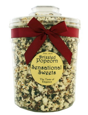 Gourmet Chocolate Drizzled Popcorn (1 lb. Molded Canister w/bow)
