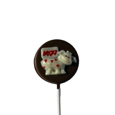 Chocolate Lollipops - Pollylops® - Cow with Hearts on disk