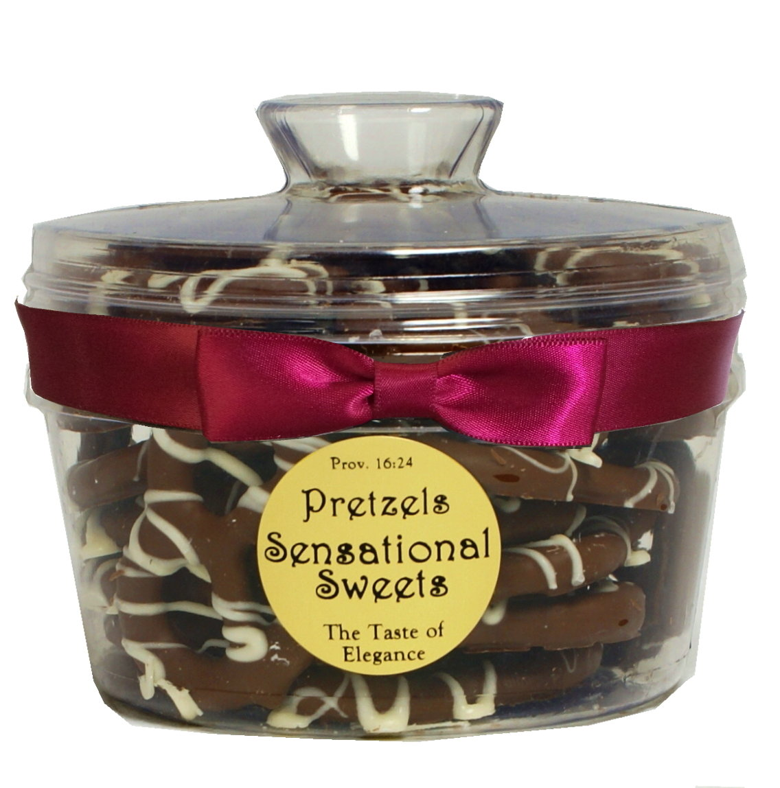 Gourmet Pretzels - Chocolate Dipped - 1 lb. Canister w/Ribbon - Wholesale W-P15/15B