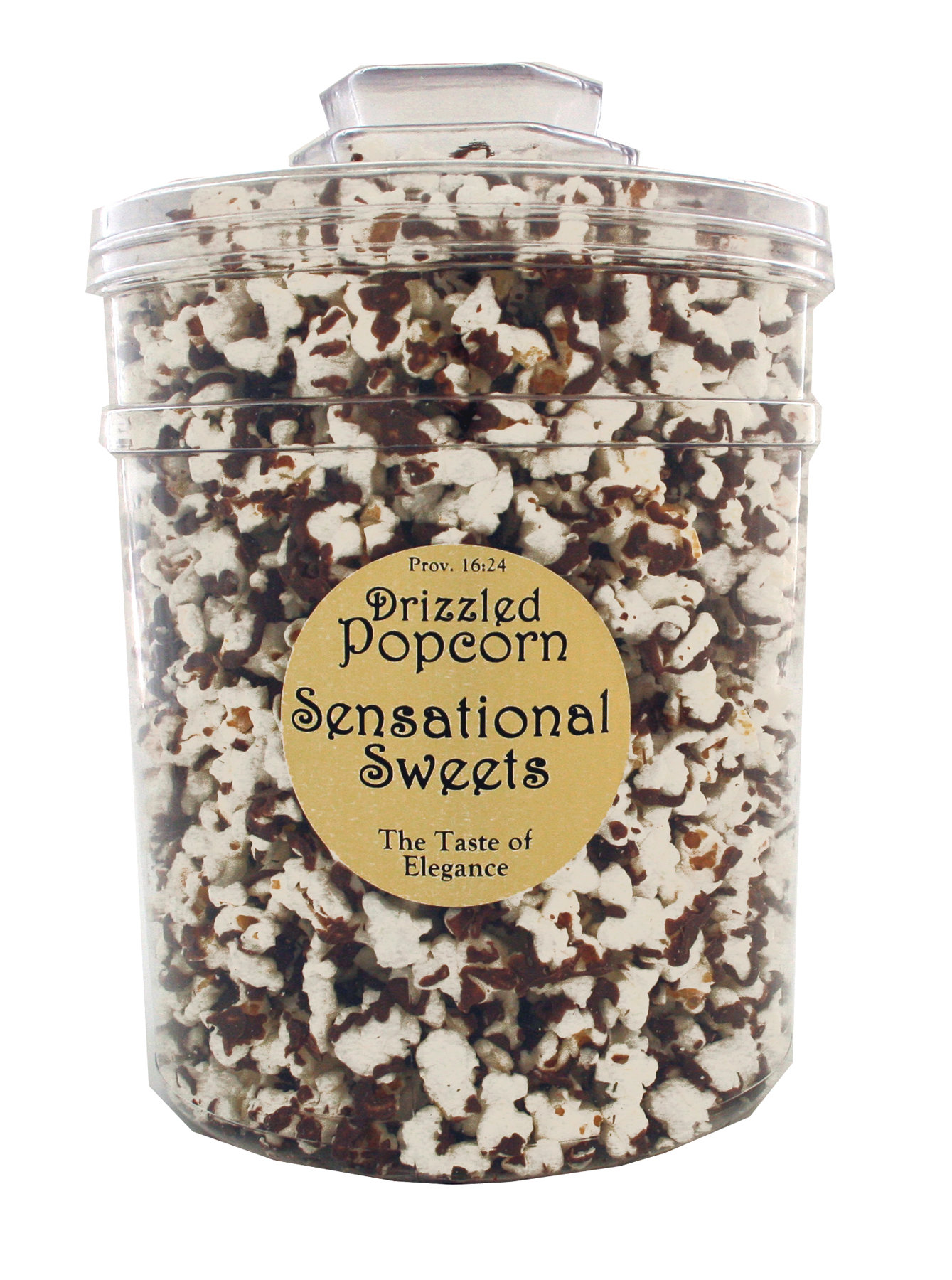 Gourmet Chocolate Drizzled Popcorn - 1 lb. Knob Tub - Wholesale W-PC107