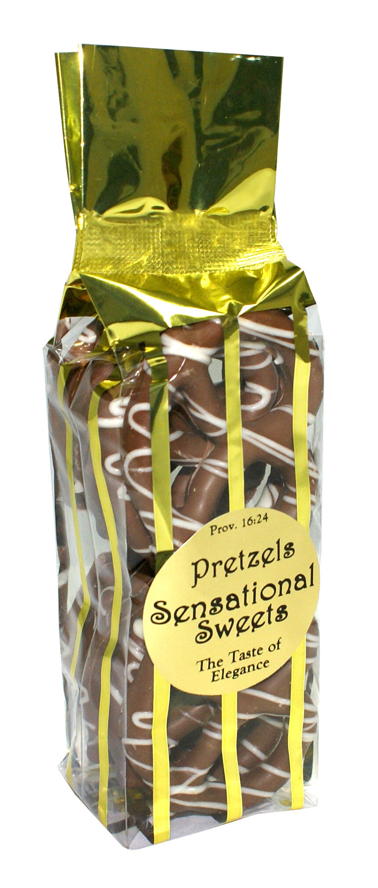 Gourmet Pretzels - Chocolate Dipped - 10 Pretzels per Bag - Gold Vert Stripe - Wholesale W-P12G