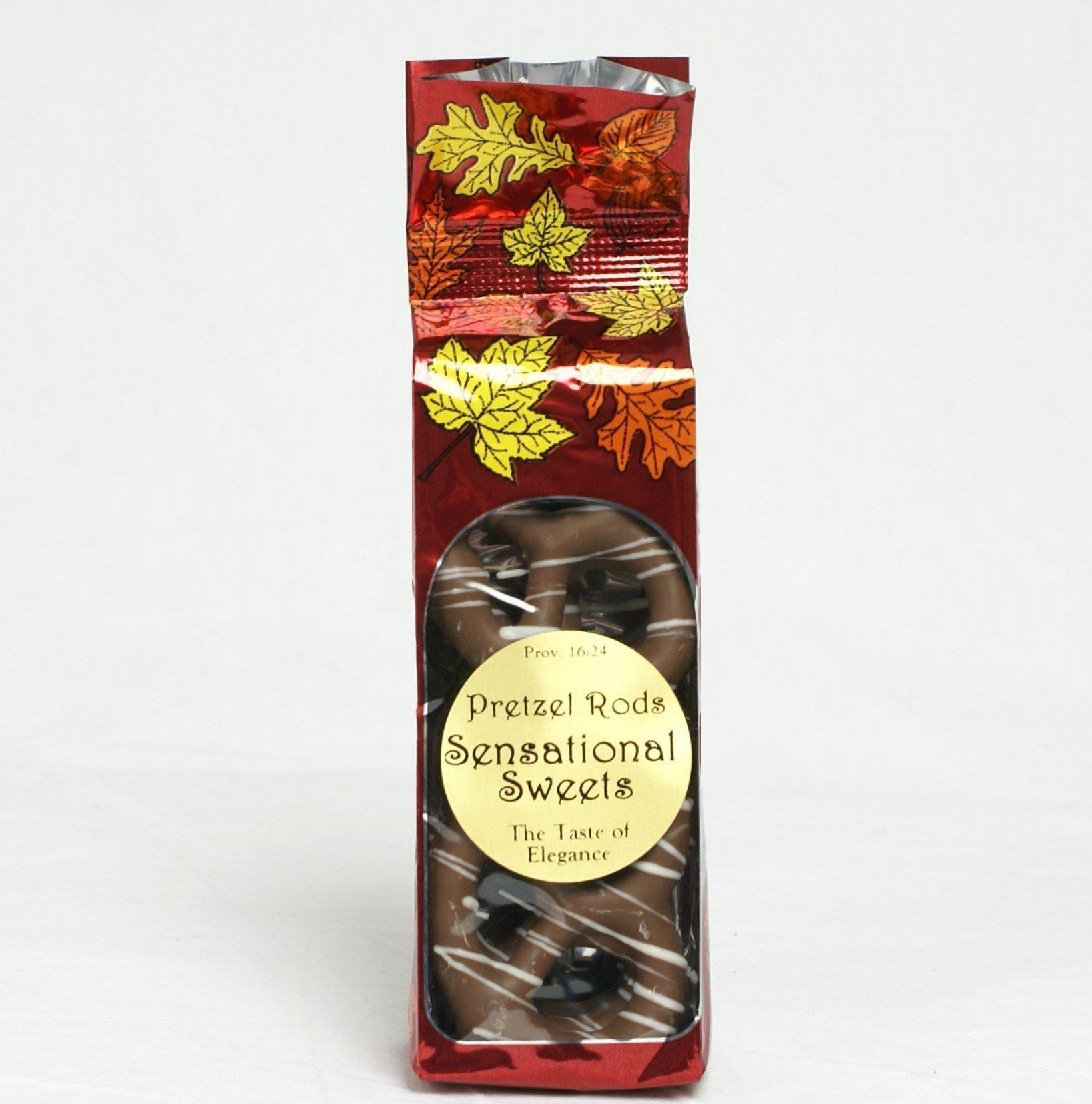 Gourmet Pretzels - Chocolate Dipped - 10 Pretzels per Bag - Fall Bag - Wholesale W-P12F