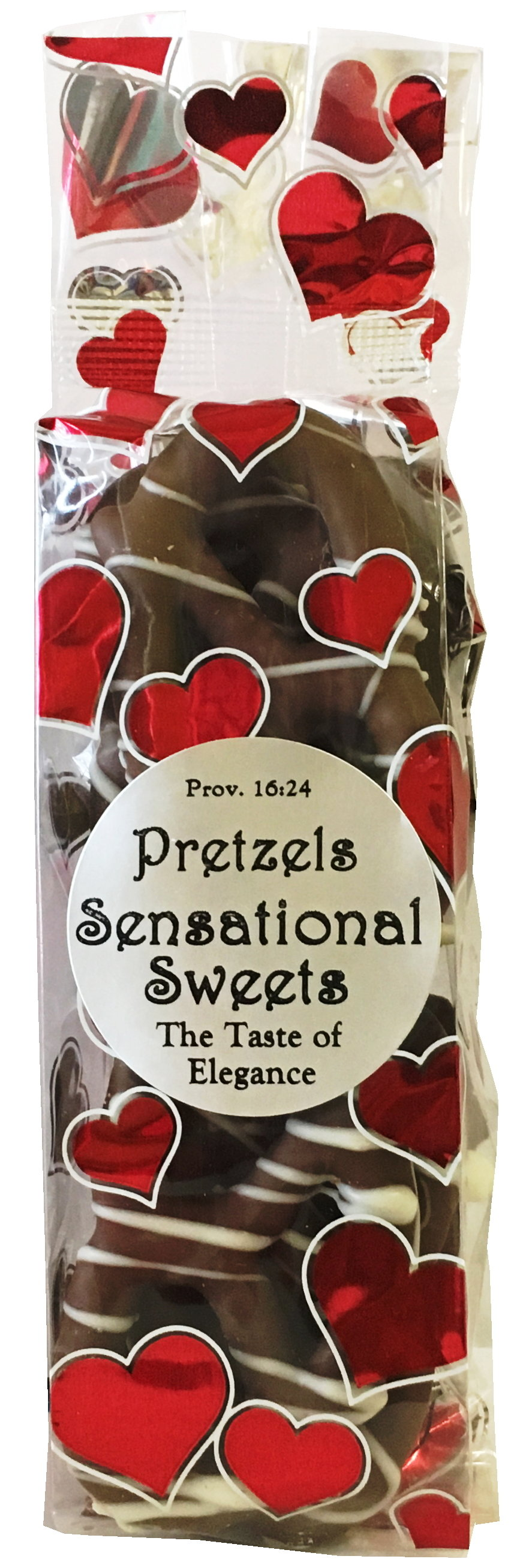 Gourmet Pretzels - Chocolate Dipped - 10 Pretzels per Bag - Heart Bag - Wholesale W-P12H
