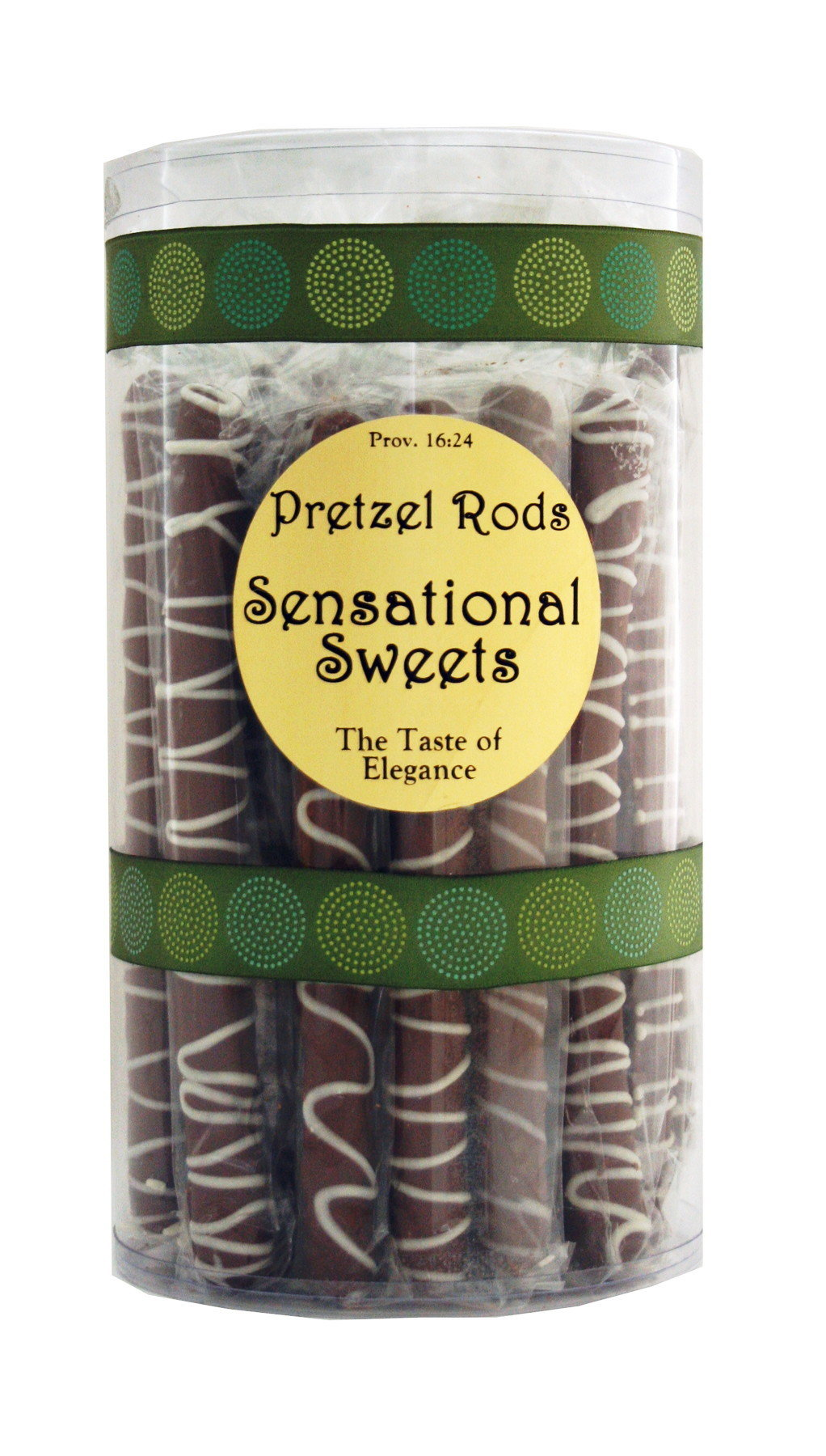 Gourmet Pretzel Rods - Chocolate Dipped - 28 Individually Dipped / Wrapped / Ribbon in Tall Tube - Wholesale W-PRPRP