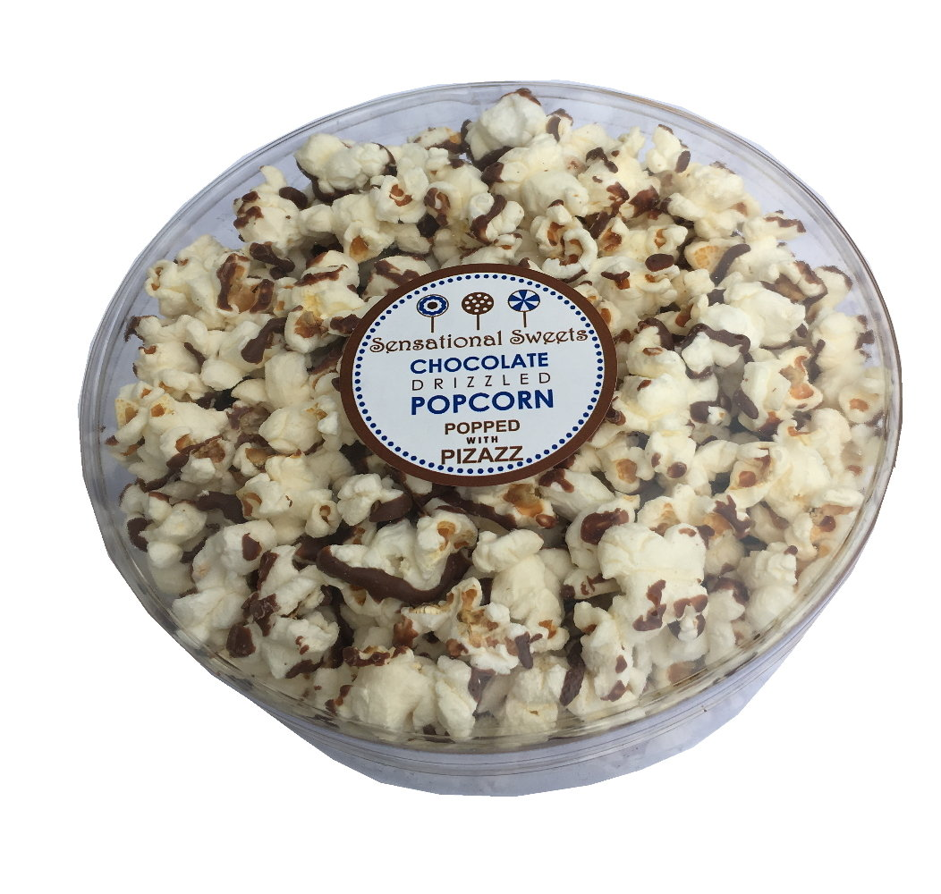 Gourmet Chocolate Drizzled Popcorn 3 oz. Deluxe Small Tub PCDeluxe