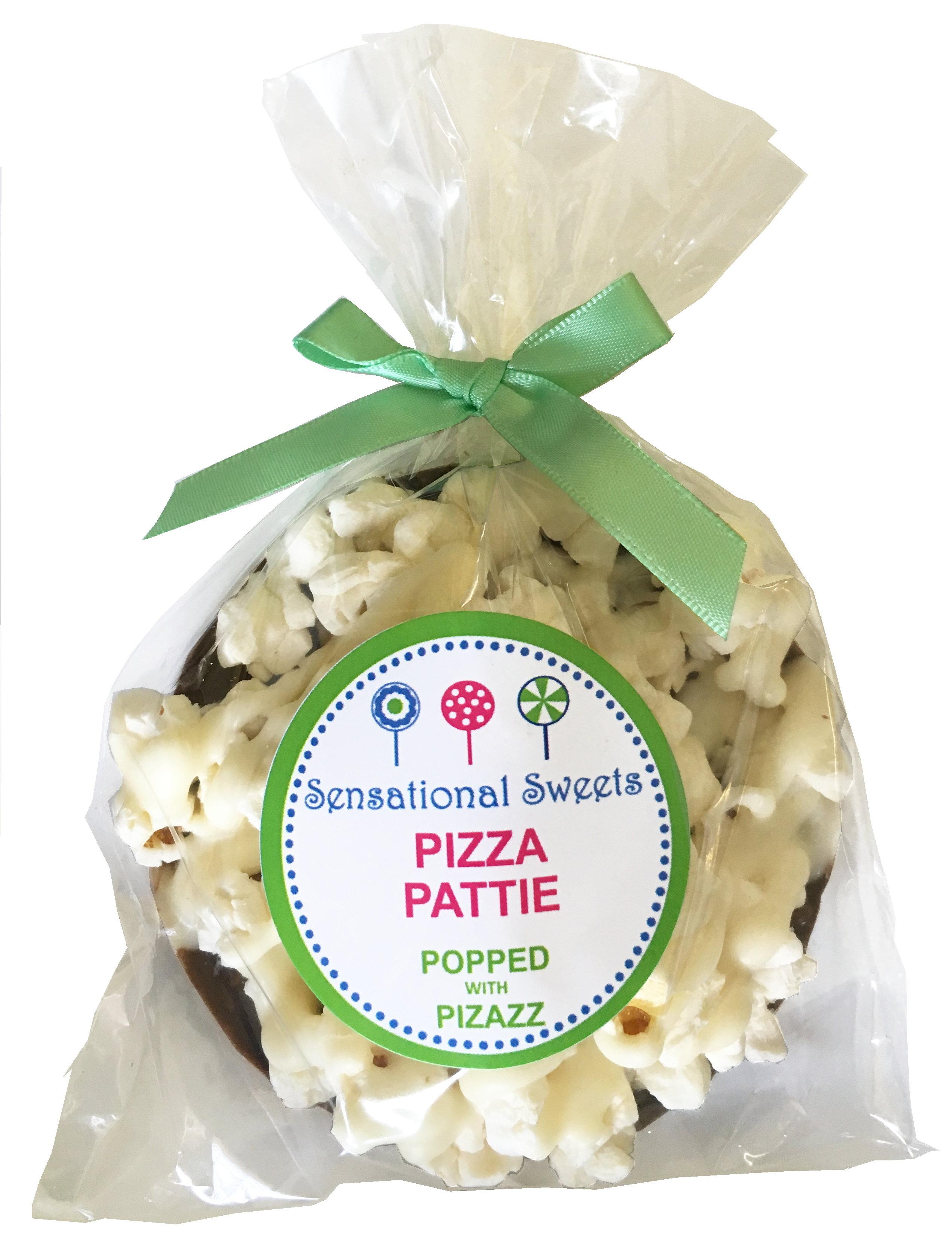 Gourmet Chocolate Pizza Pattie w/white drizzle no decorations (Shown w/LP Label) PZPW