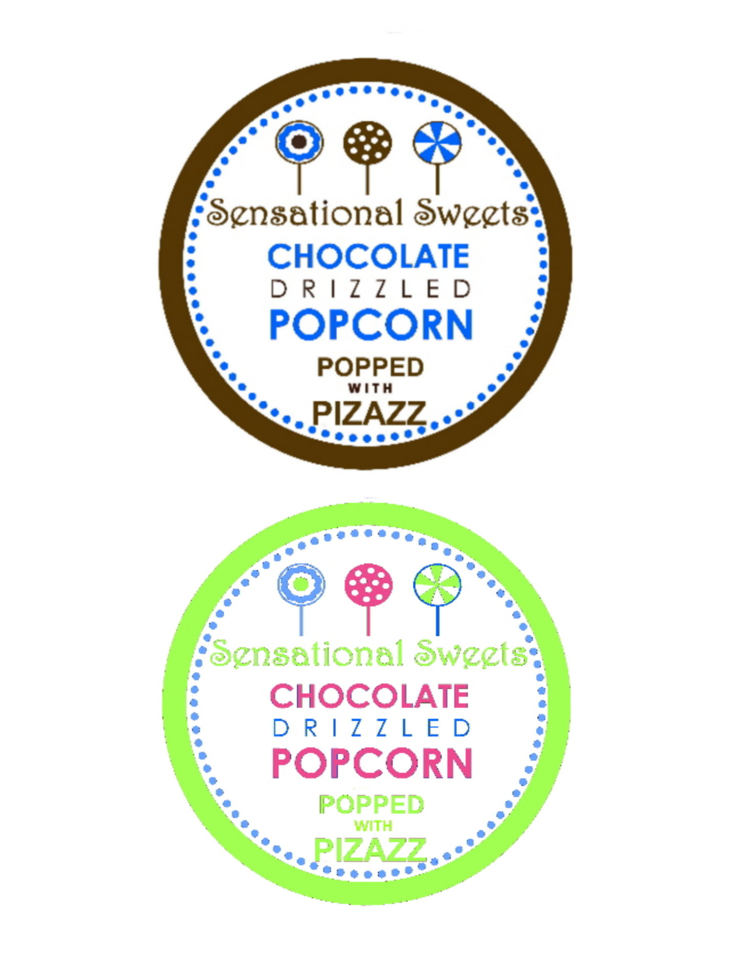 Brown/Blue and Pink/Green Labels