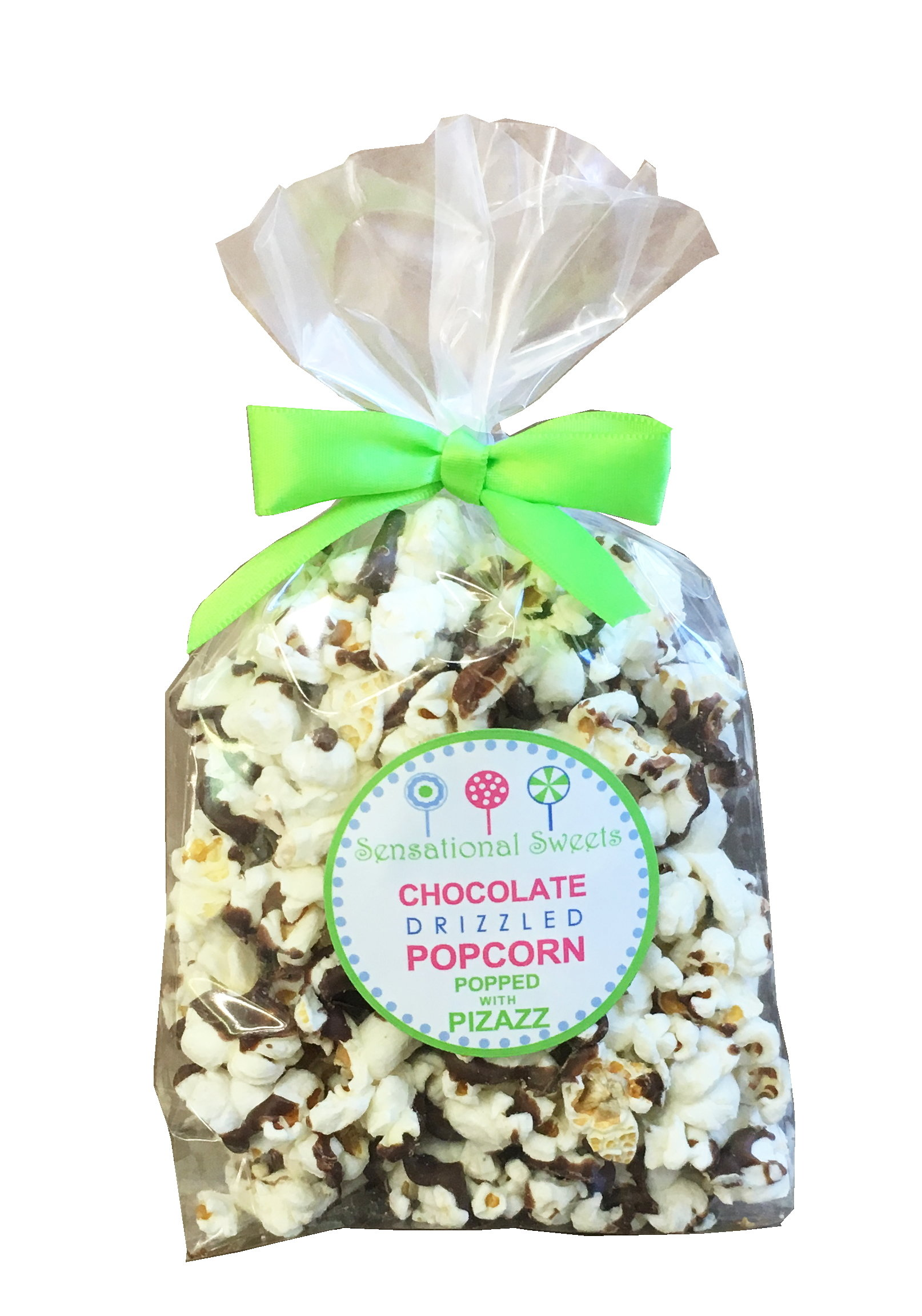 Gourmet Chocolate Drizzled Popcorn - 1.5 oz. Favor Bag w/bow PC025
