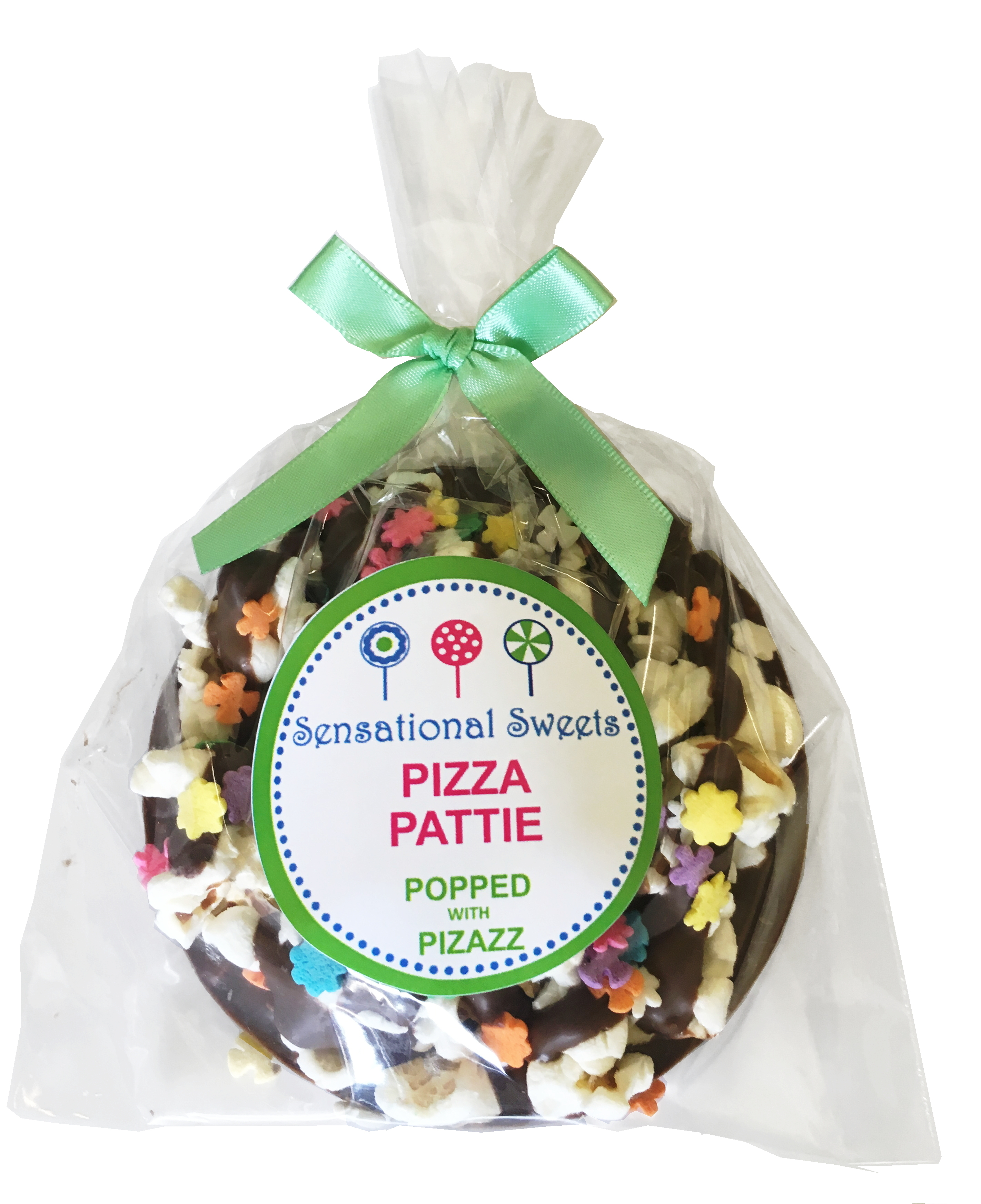 Gourmet Chocolate Pizza Pattie (Decorated) Shown with L/P Label PZPD
