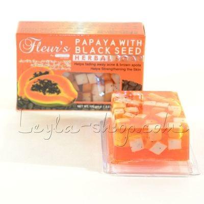 Мыло Hemani - Papaya With Black Seed Soap (с кусочками папайи и семенами черного тмина)
