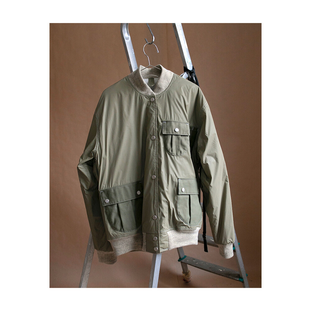 W'MENSWEAR SPACE FLIGHT JACKET IN BEIGE REFLECTOR