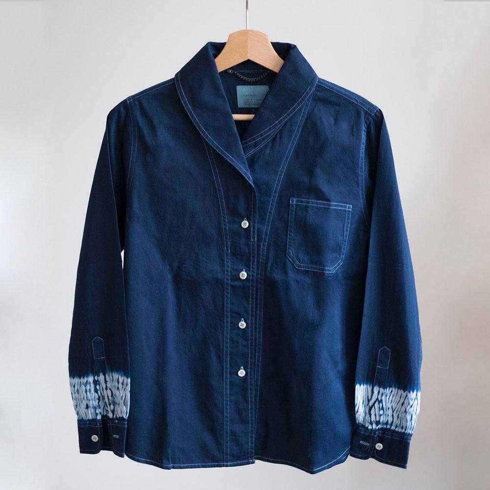 W'menswear Roll Neck Shirt in Indigo Woodgrain 0009RNSWG