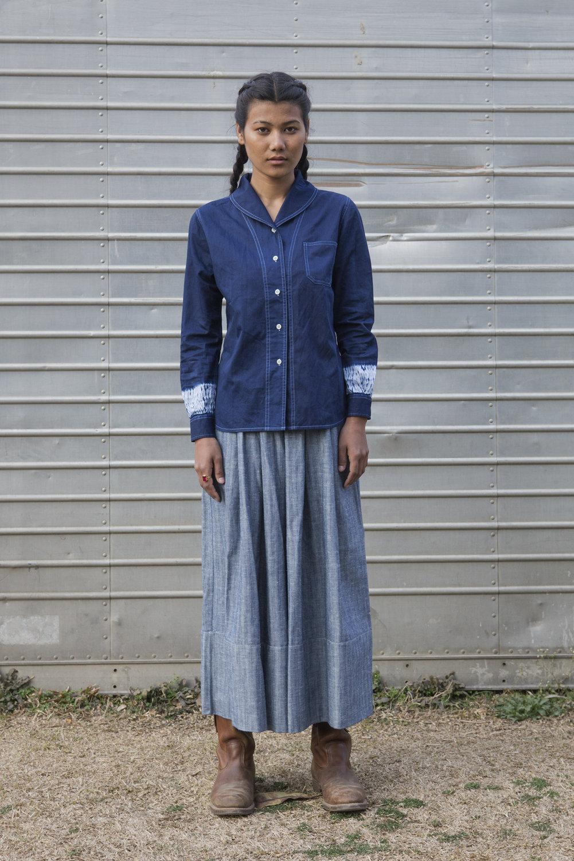 W'menswear Roll Neck Shirt in Indigo Woodgrain