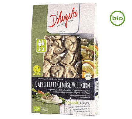 D'Angelo WHOLEMEAL CAPELLETI with vegetables, organic, 250g
