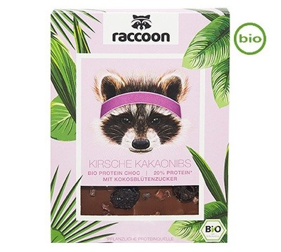 Raccoon Organic VEGAN PROTEIN CHOCOLATE WITH sour cherries and cacao nibs 70g     20% PROTEIN!